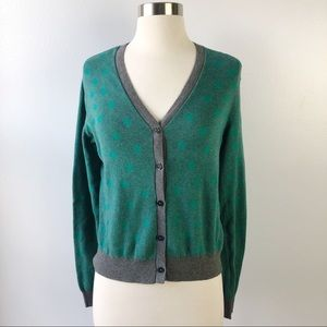 Cabi Green Gray Polka Dot Cardigan Sweater 903